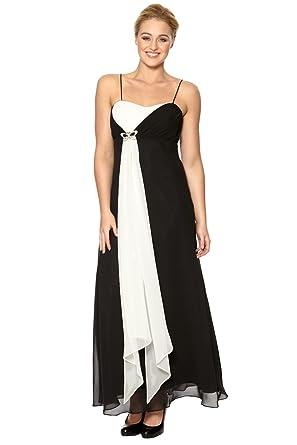 Roman Women\'s Long Monochrome Evening Dress Black Size 24: Amazon ...