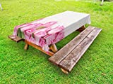 Ambesonne Rose Outdoor Tablecloth, Love Valentine's Day Celebration Inspired Composition Flowers Wood Planks Print, Decorative Washable Picnic Table Cloth, 60 X 104 inches, Pink Green Cream