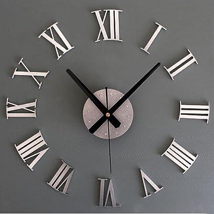 Malloom DIY lujo números romanos reloj de pared 3D gran tamaño decoración del hogar (plata