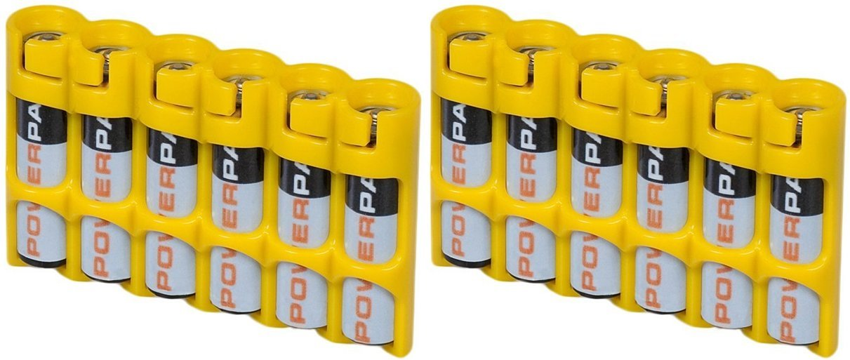 2 x Battery Cases By Powerpax Slim Line ''AAA'' Battery Caddy, Yellow - Each Holds 6 ''AAA'' Batteries