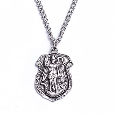 silver curb sterling chain badge solid with michael htm pendant st necklace saint p inch
