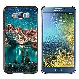 GIFT CHOICE / Teléfono Estuche protector Duro Cáscara Funda Cubierta Caso / Hard Case for Samsung Galaxy E7 E700 // Lake Stars Night Teal Sky Alaska Winter //