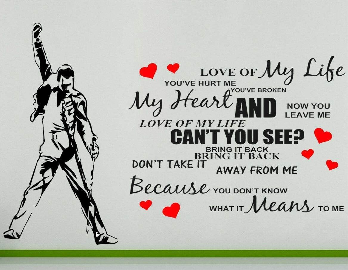 Freddie Mercury Queen Love Of My Life Artista Singer Pared Pegatina Arte Foto - Blanco, 46 cms wide x 30 cms high