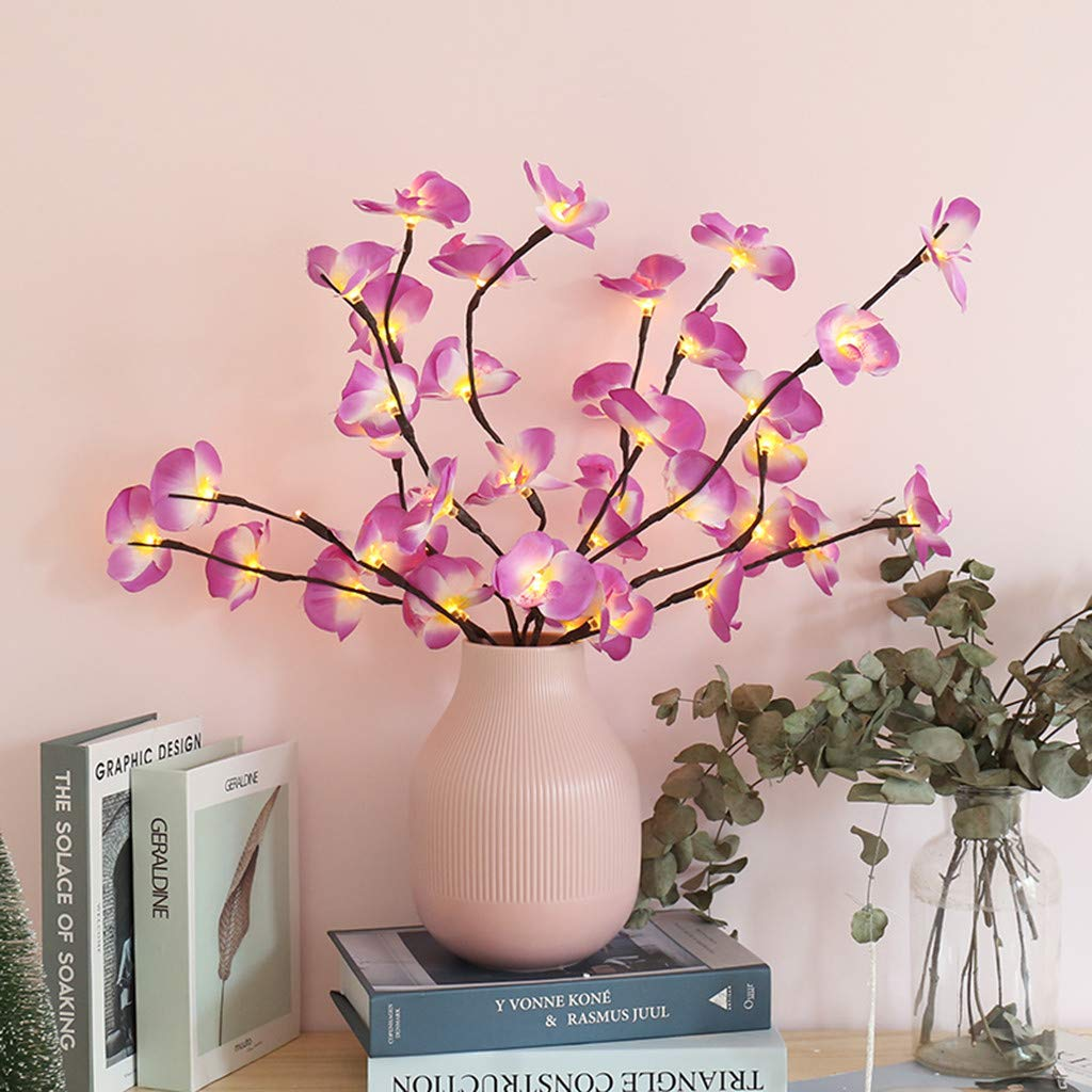 Kiply Led Lighted Artificial Phalaenopsis Tree Branch Light Battery Operated Phalaenopsis Pot With 20 Lights Lamps Sports Outdoors