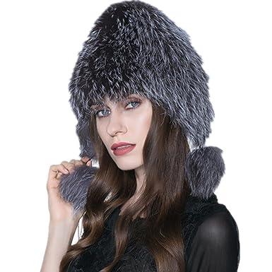 b92be739ed2 Genuine Fox Fur Knitted Women Winter Cap Princess Hat (Silver) at ...