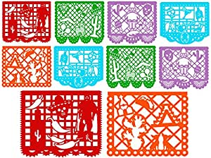 """ COCO Style "" MEXICAN - Large PLASTIC Mexican Papel Picado Banner - 10 PANELS - 16 Feet Long - Mexican Party supplies decorations - Multicolor by Make It Count"