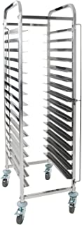 Royal Catering - Tablettwagen Abräumwagen (16 Einschübe, 80 mm Auflagenabstand, Feststellbremse, Edelstahl) Silber