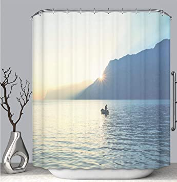 BEICICI Color Shower Curtain Liner Anti Mildew Antibacterial Man On A Canoe Fishing Under
