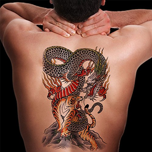 TAFLY Men's Extra Large Size Colorful Dragon and Tiger Temporary Tattoo Transfer Sticker 2 Sheets
