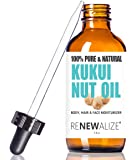 Kukui Nut Oil by Renewalize in LARGE 4 OZ. DARK GLASS BOTTLE with Glass Eye Dropper | Highest Quality 100% Pure , Cold Pressed Oil | Non-GMO | A Fantastic Light Massage Oil