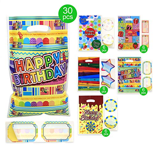 Chocolate Toy Bag - Birthday Party Bags for Kids and Girls,6.5 x 10 Inch,50 Bags with 5 Types of Happy Birthday Patterns Plastic Bags, for 1st Birthday Party,Candies,Goodies,Small Toys,Chocolates