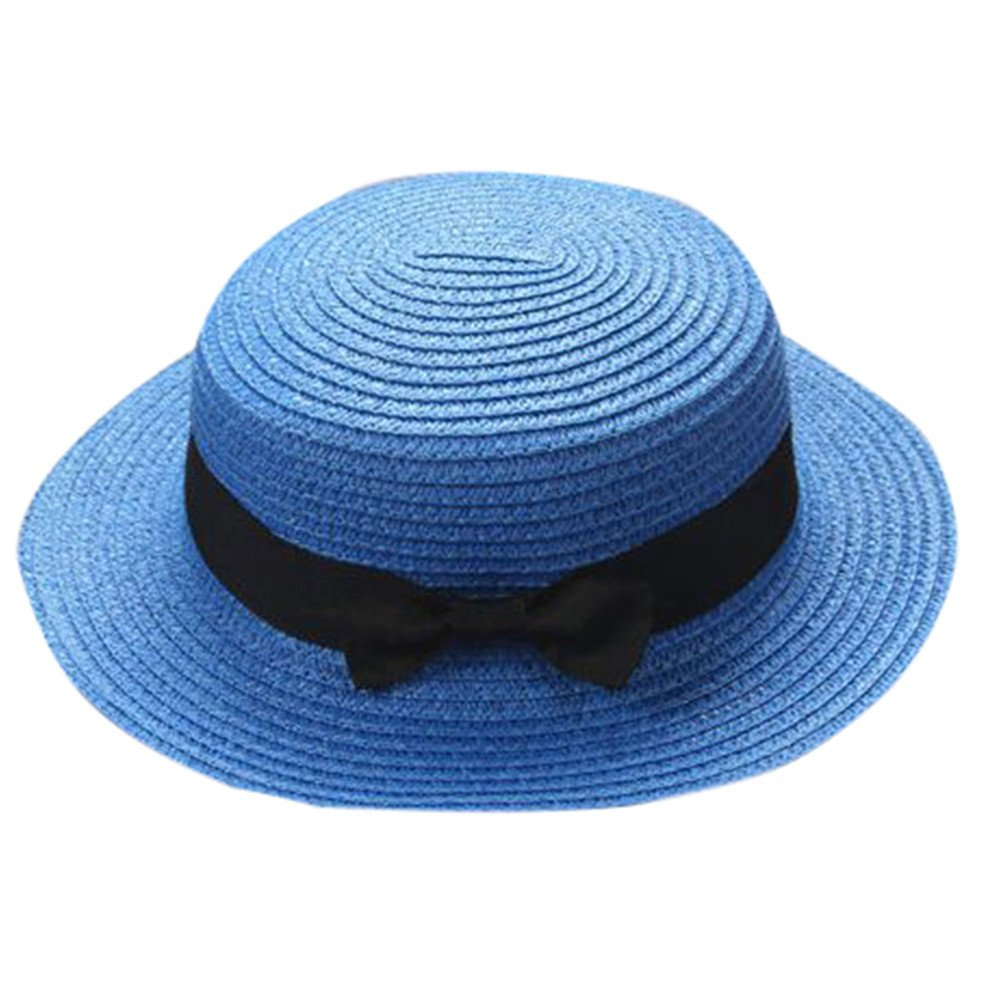 Cleanrance Unisex Hat Gangster Hat for Women and Men Unisex Gangster Cap Beach Sun Straw Hat Band Sunhat (One Size, Dark Blue1)