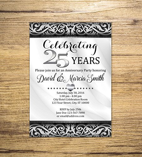 Amazon 25th Silver Wedding Anniversary Invitation Black and – 25th Anniversary Party Invitations