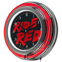 Honda Ride Red Chrome Double Ring Neon Clock, 14