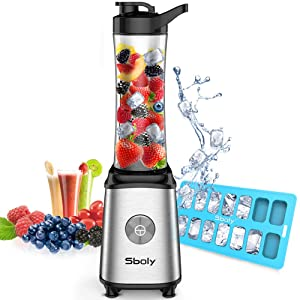 Personal Blender, Sboly Smoothie Blender Single Serve Small Blender for Juice Shakes and Smoothie with 20 oz Tritan BPA-Free Travel Bottle, 300W (with Silicone Ice Cube Tray/Bottle Brush)