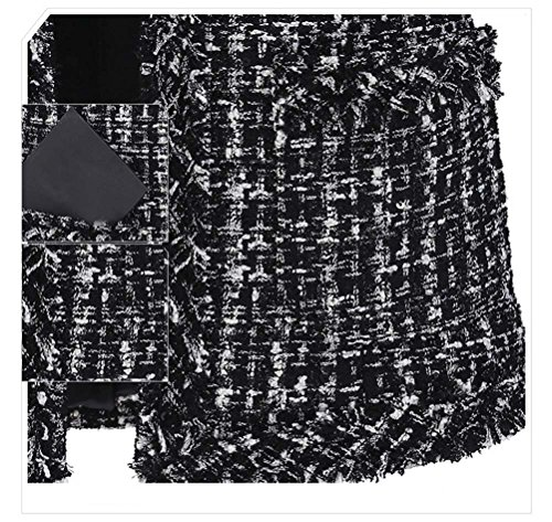 Womens Elegent Plaid Long Sleeve Collarless Bomber Tweed Jacket Coat Blazer M