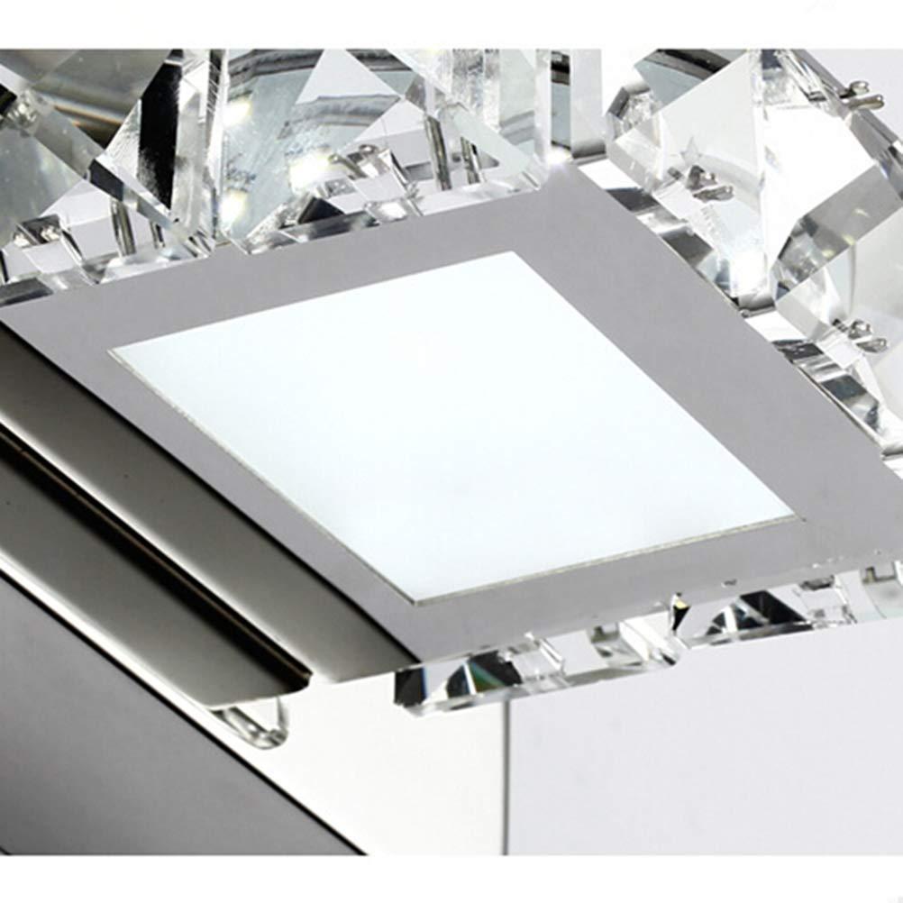 Square K9 Crystal Bathroom Light Fixtures Led 3W Bath Vanity Wall Sconces Light Pure White Light