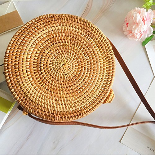 Gaeruite Round bag Braided Girl A Bag Summer Straw Bag Women Handmade For Handbag C Straw Beach Shoulder Bag Picnic Woven Rattan 0xrU0