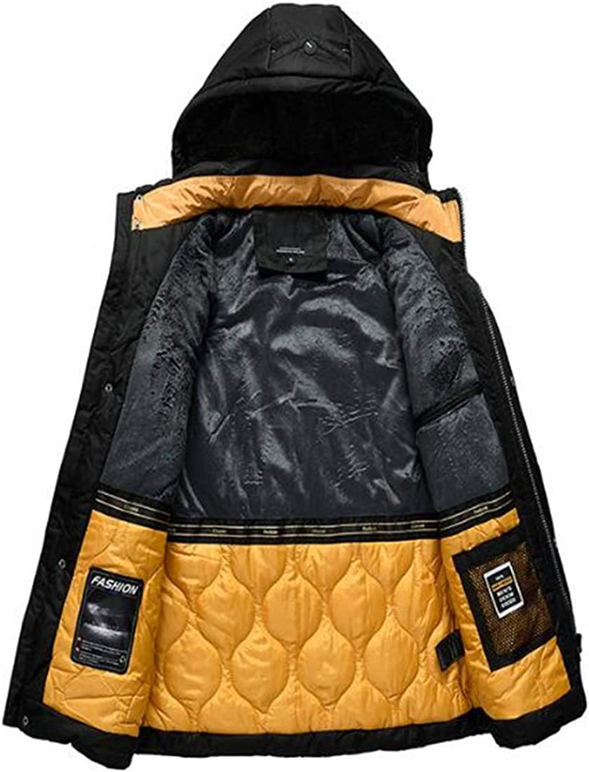 Wilngo Men Winter Outdoor Hooded Insulated Thicken Quilted Padded Windbreaker Outwear