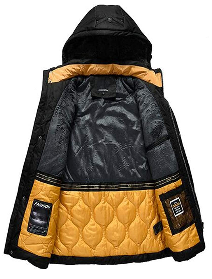 X-Future Mens Winter Outdoor Hooded Quilted Padded Thicken Insulated Windbreaker Overcoat