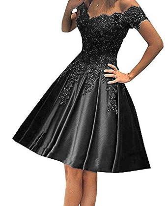9dc02ebe49da FTBY Satin Homecoming Dresses for Juniors Off Shoulder Short Prom Dress  Lace Appliques Black-2