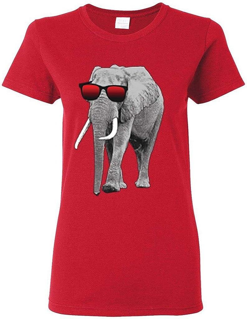 Custom Apparel R Us Elephant Wearing Sunglasses Womens T-Shirt