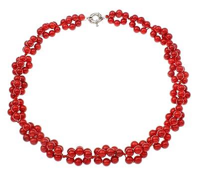 TreasureBay Beautiful Natural Red Coral Beaded Necklace 19