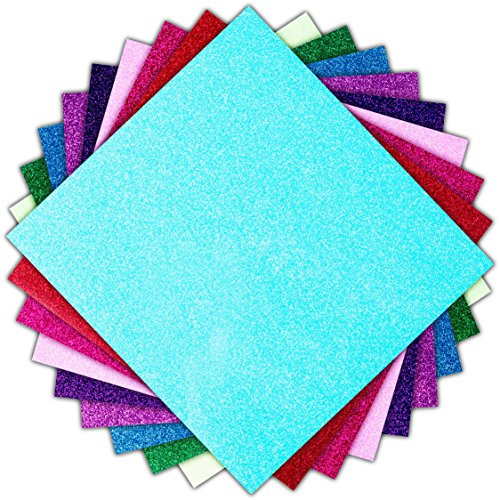 Glitter Vinyl Heat Transfer Bundle/HTV 9 Sheet Pack/Cricut, Silhouette Cameo, Iron On Or Heat Press Machine/Make Amazing T Shirts USA Packed-10 1/12 X 9 5/8