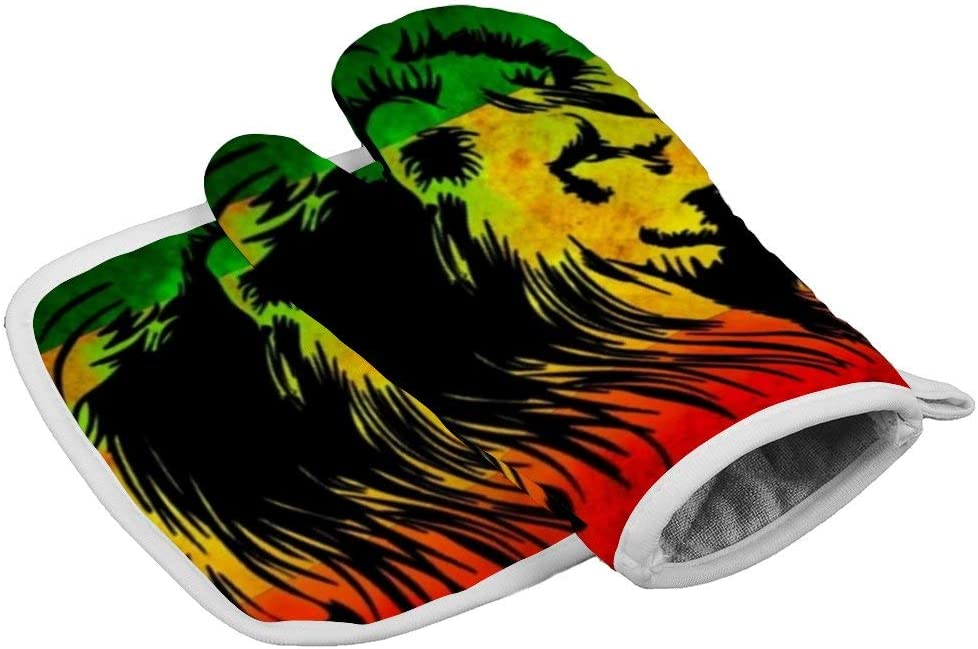 Leon_Rasta_copia (1) Oven Gloves Microwave Gloves Barbecue Gloves Kitchen Cooking Bake Heat Resistant Gloves Combination