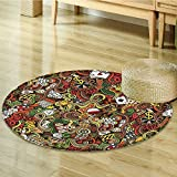 Casino Decorations Circle carpet By Nalahomeqq Doodles Style Art Bingo Excitement Checkers King Tambourine Vegas Room Accessories Extralong-Diameter 170cm(67'')