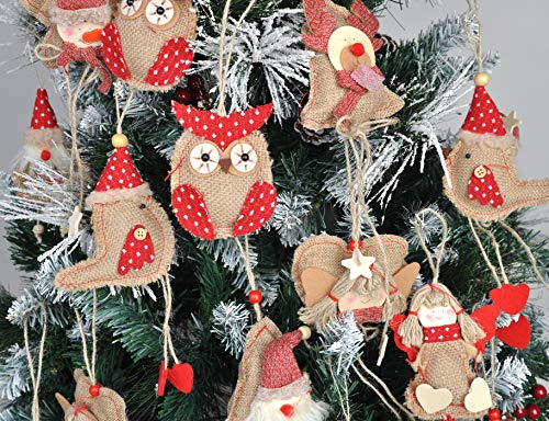 Love Wind Hanging Heart Christmas Home Decor 8pcs Rustic Burlap Moose/Snowman/Santa Claus/Bell by Love Wind (Image #3)