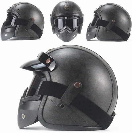 AA100 Casco de Harley, Personalidad Hecha a Mano Retro Gafas de Boca Filtro máscara Desmontable (S, L, MXL, XXL),Black,XXL