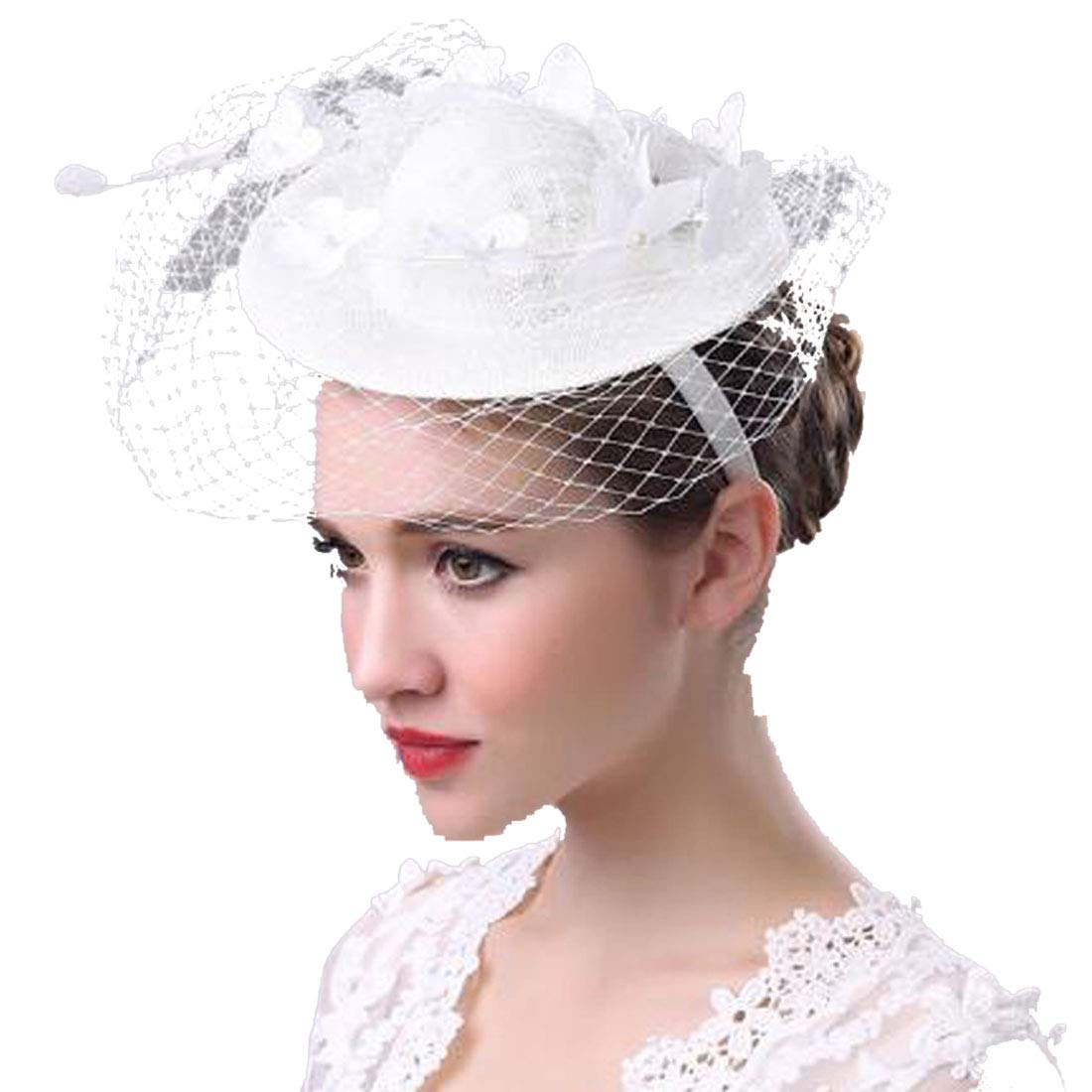 0b5ccd1f Gtopart Tea Party Hat Women's Fascinators Flower Feather Wedding Hat with  Veil HLM02 at Amazon Women's Clothing store: