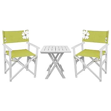 3 piezas. Juego de muebles de jardín - Mesa plegable 45 x 43, 5 cm ...