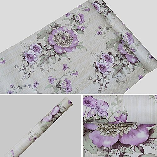 Self Adhesive Disk - SimpleLife4U Vintage Purple Peony Self-Adhesive Kitchen Shelf Drawer Liner Moisture Proof PVC Mat 45x300cm