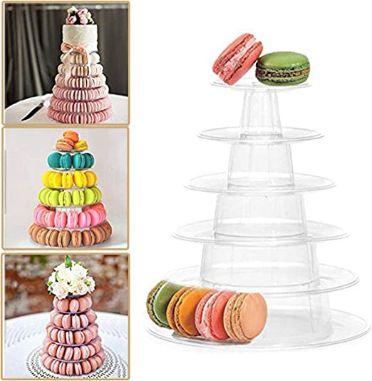 Plastic Round Serving Display Cakes Platter Food Stand Wedding Plate 6 Tier