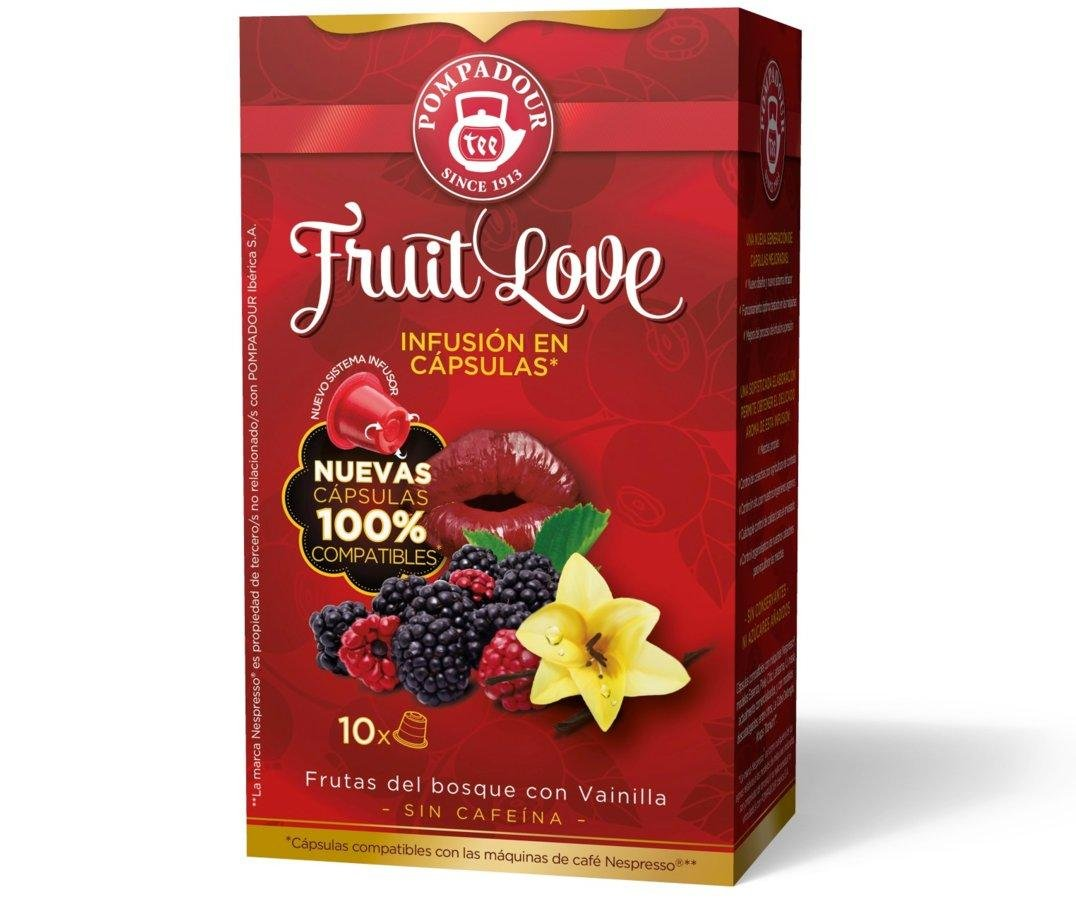 POMPADOUR for the ORIGINAL Nespresso system Capsules - Fruit Love TEA (Red Fruits) - 10 caps / sleeve - 80 caps COUNT