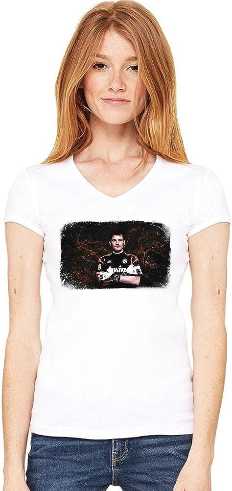 Portrait Iker Casillas de las mujeres V-cuello de la camiseta ...