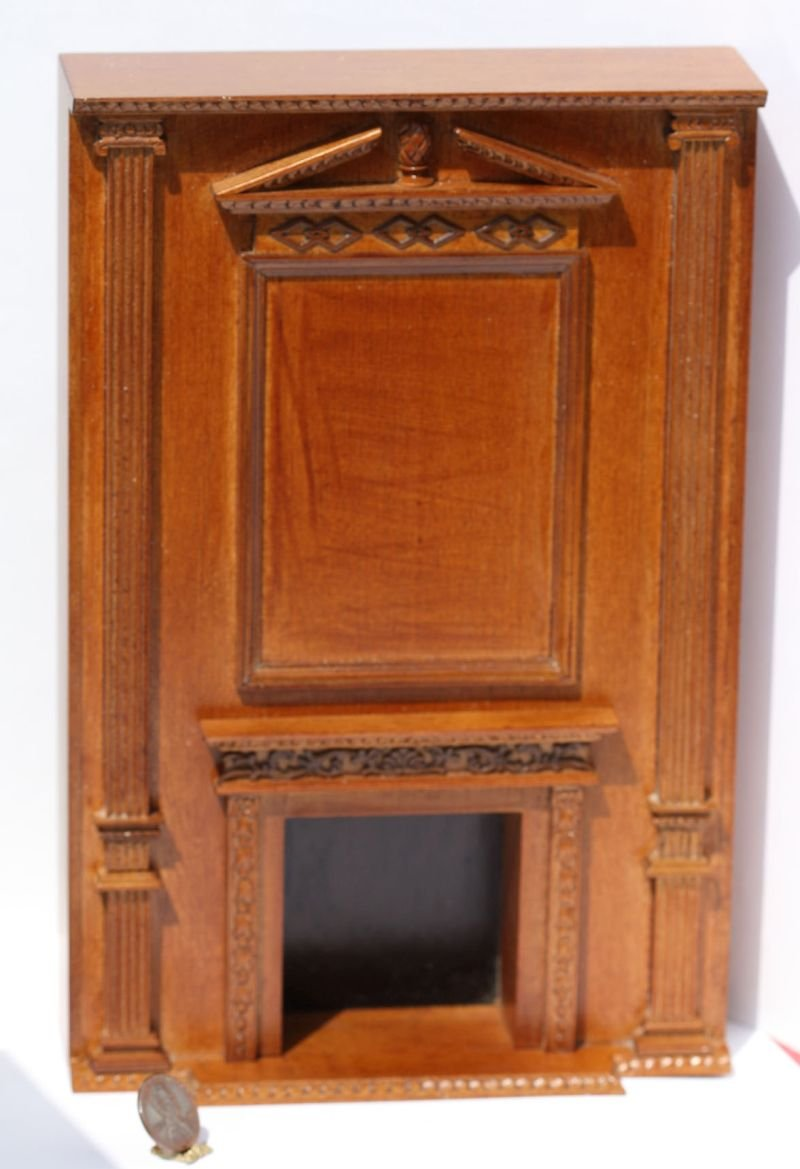 ドールハウスミニチュアOrnateウォールユニットin Walnut W /暖炉 B016N963SO