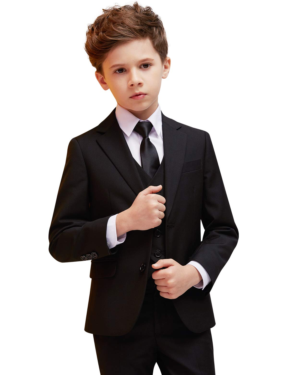 ELPA ELPA Boys Suits Children's Slim Fit Formal Suit 6 Piece Youth Solid Color Clothing for Wedding Suits Tuxedo