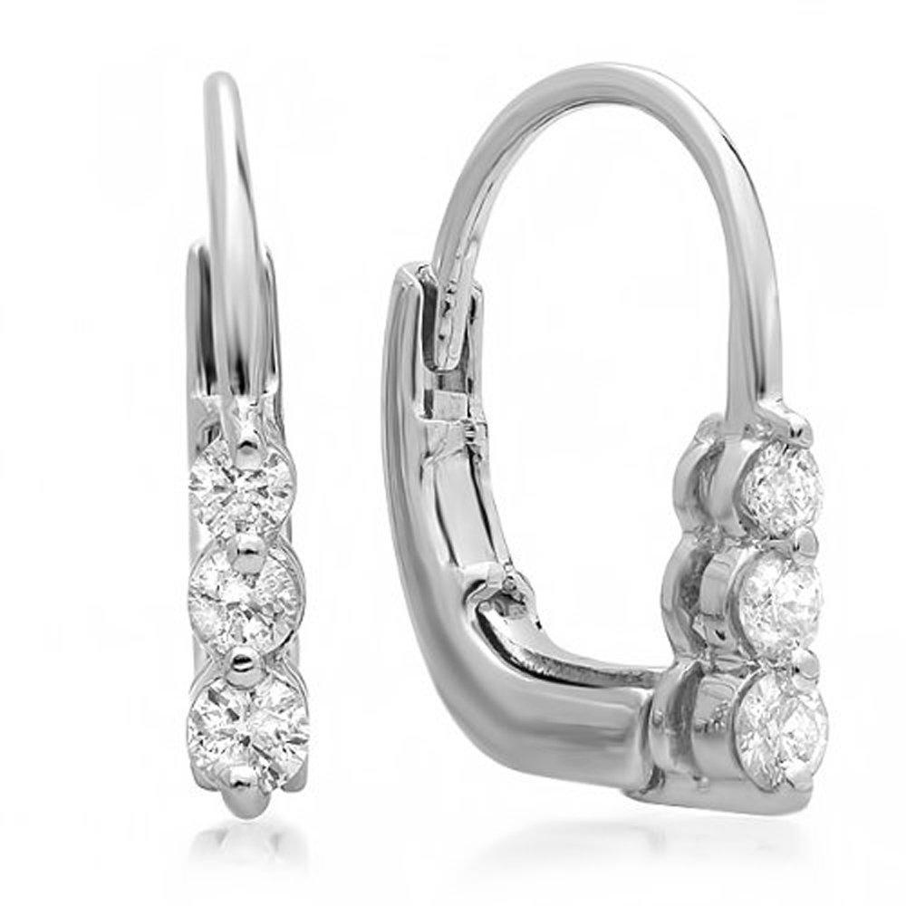 0.25 Carat (ctw) 10K White Gold Round Diamond Ladies 3 Stone Hoop Earrings 1/4 CT
