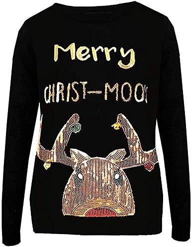 Pullover Navidad Mujer Suéter de Lentejuelas Sudadera Casual Cuello Redondo T-Shirt Manga Larga Camisa de Entrenamiento Blusa Tops de túnica Camiseta Jersey Sweatshirt Otoño Invierno Gusspower: Amazon.es: Ropa y accesorios