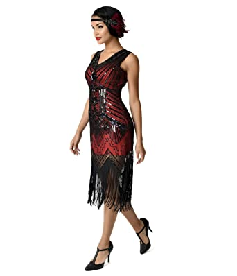 unique vintage 1920s deco red black veronique fringe flapper dress