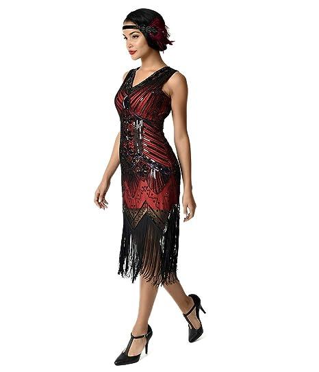 9b9536bc69cc Unique Vintage 1920s Deco Red & Black Veronique Fringe Flapper Dress at  Amazon Women's Clothing store:
