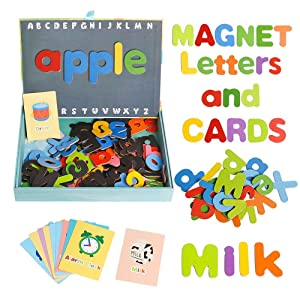 JCREN Wooden Magnetic Letters Fridge ABC Alphabet Magnets and Cognitive Cards for Toddlers Baby,Wooden Refrigerator Magnet Letter Learning Games Wood Toys for Kindergarten Age 2 3 4 Kids Babies