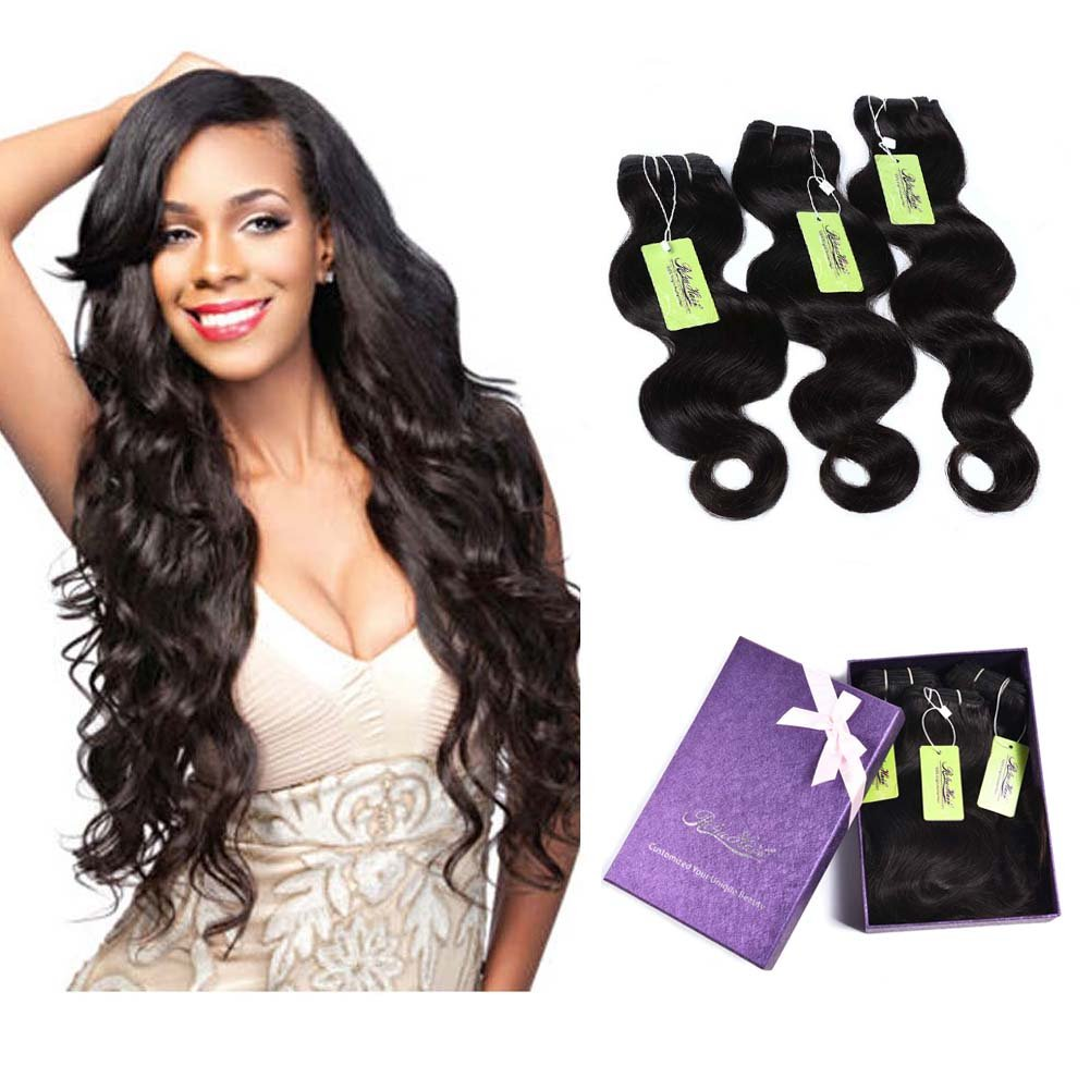 """Indian Human Hair Weft Sew in, Re4U Hair Weft Extension Bundles 100% Human Hair Body Wave Natural Black (Natural Color 18""""+20""""+22"""" Total 300g)"""