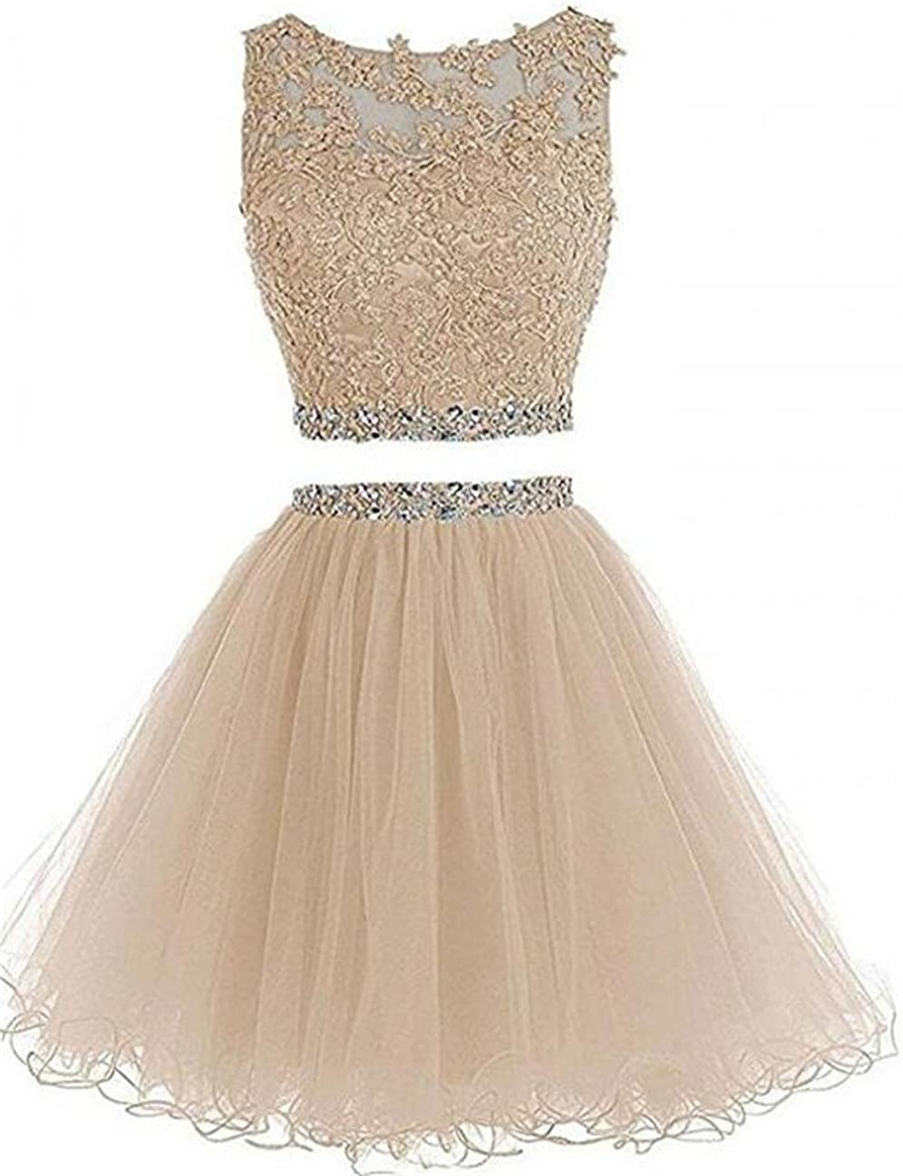 Dydsz Women's Prom Homecoming Dresses Short for Juniors Teens 2 Piece Party Gown D127