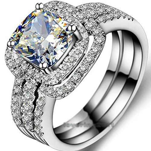 BigRose-Emerald-cut-8mm-Topaz-Simulated-Diamond-10KT-White-Gold-Filled-3-in-1-Engagement-Wedding-Ring