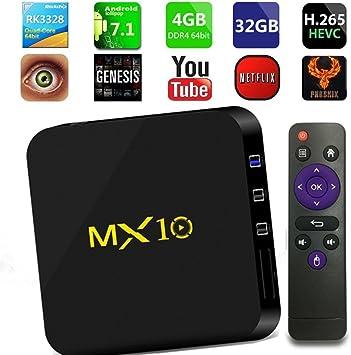 TV Box Android 7.1, Smart Penkou MX10 DDR3 4G 32 GB 4K HD TV Box H.265 64bit con WiFi Set 2.4G Decodificador de Video y Reproducción de Juegos: Amazon.es: Electrónica
