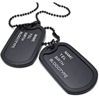 SODIAL Jewelry Mens Necklace, 2 Tag Style Dog Tag Pendant with 68 cm Chain, black
